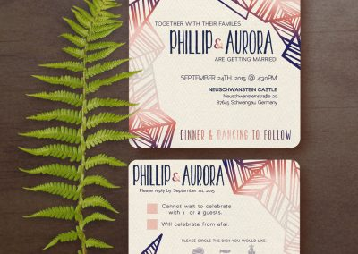 Philip & Aurora Square Customizable Wedding Invites