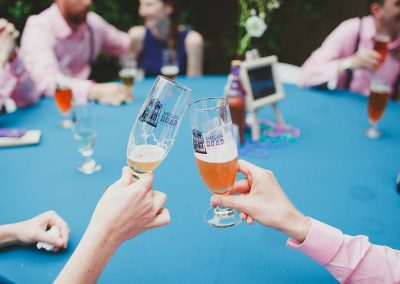 Wedding Day fun With Custom Beer Glasses! Photo by Sharon Pye