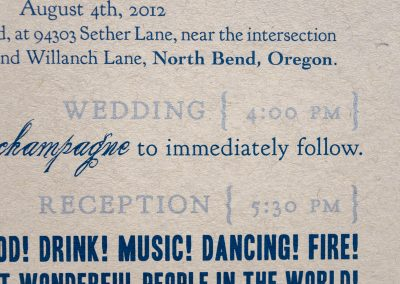 Jeremy & Kate Wedding Invite Detail