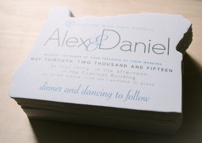Alex & Daniel Oregon Shaped Wedding Invite