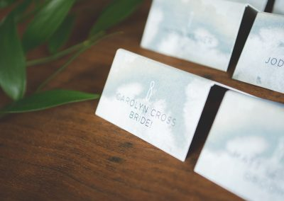 Matt & Carolyn White Wash Wedding Place Cards