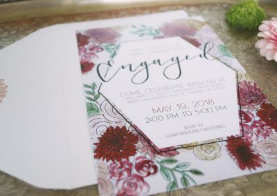 Floral Engagement Invites