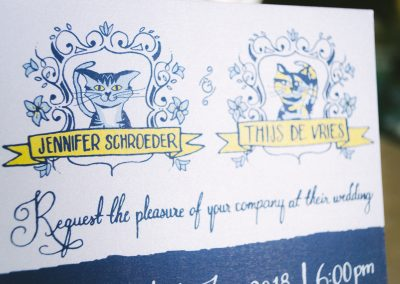 Jennifer & Thijs Sparkly Cat spirit Wedding invites