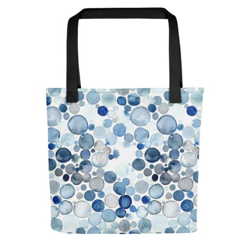 Blue Bubble Watercolor tote
