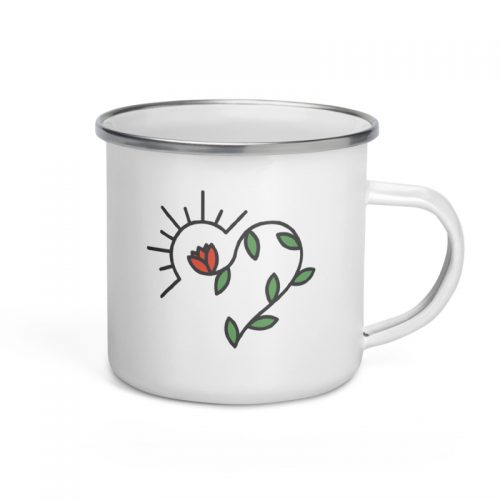 Rose Heart Enamel Mug