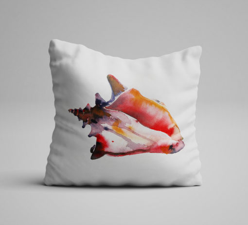 Watercolor Conch Pillow