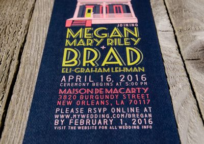 Megan & Brad New Orleans Invite with Maison de Macarty Graphic