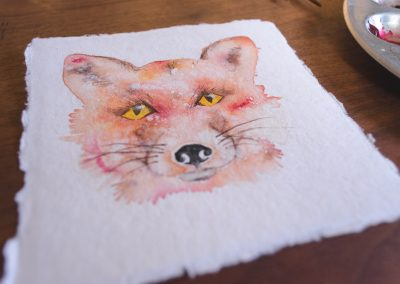 Watercolor of a fox detail