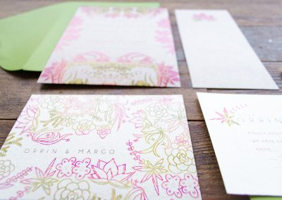 Close up of Succulent Stationery Suite