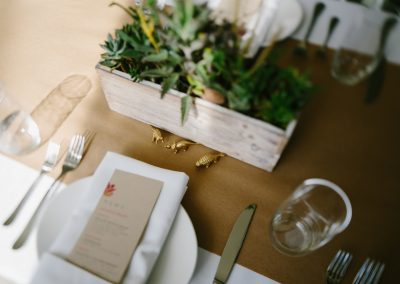 Place setting with Menu and Succulents