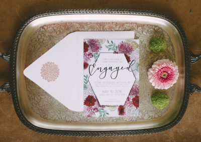 Floral Engagement Invites with laser cut dahlia