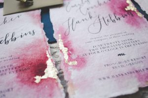 Watercolor on handmade paper with gold foil Wedding invitation
